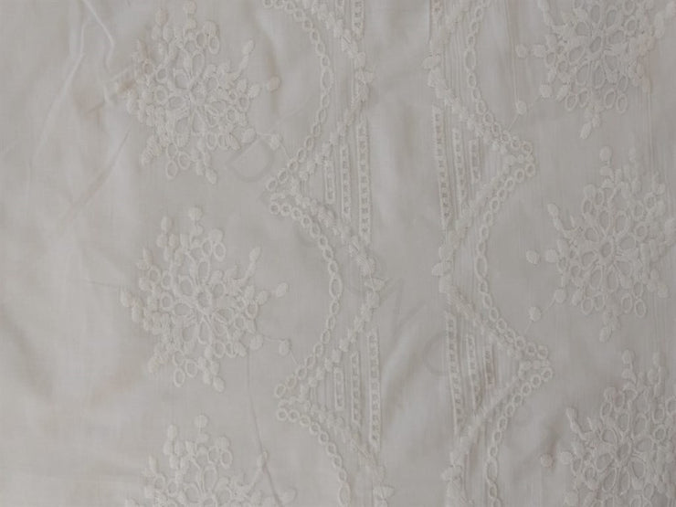 White Embroidered Border Cotton Fabric | The Design Cart