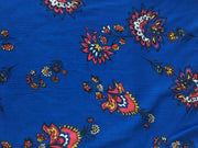 Blue Multi Floral Crinkle Rayon Crepe Fabric | The Design Cart