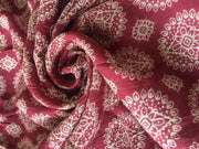 Maroon Beige Geometical Print Crinkle Rayon Crepe Fabric | The Design Cart
