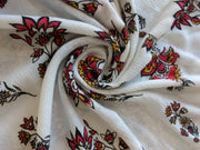 White Multi Rayon Crinkle Rayon Crepe Fabric | The Design Cart