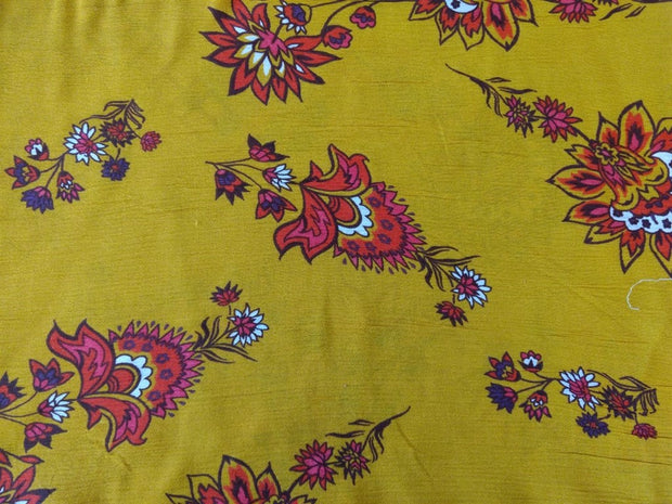 Mustard Multi Floral Crinkle Rayon Crepe | The Design Cart