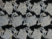 Black White And Blue Floral Rayon Crinkle Crepe Fabric | The Design Cart
