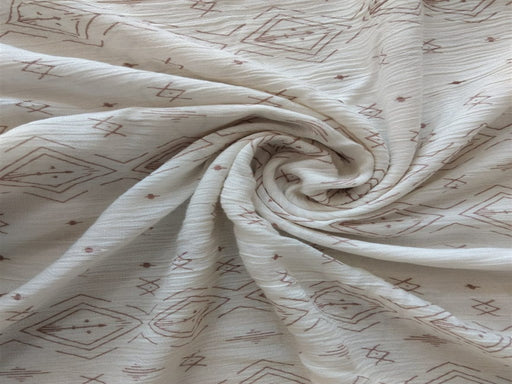 White Olive Geometric Crinkle Rayon Crepe Fabric
