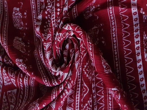 Red Off White Traditional Print Crinkle Rayon Crepe