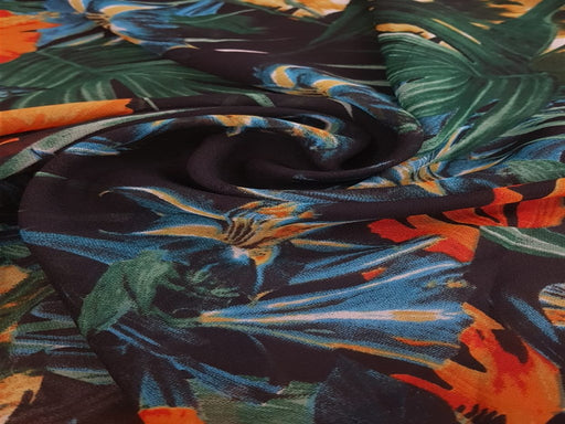 Black Multi Floral Georgette Fabric