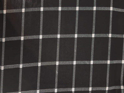 Black White Checks Georgette Fabric