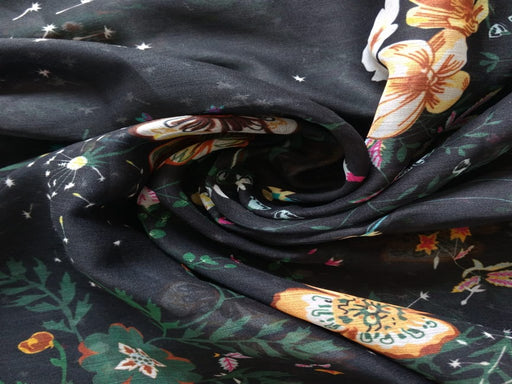 Black Digital Floral Chiffon Fabric
