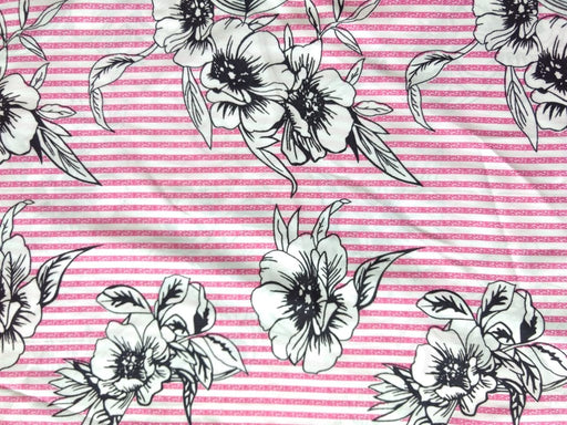 White Pink Stripes And Floral Poly Crepe Fabric