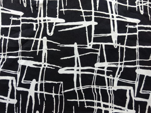 Black White Abstract Poly Crepe Fabric