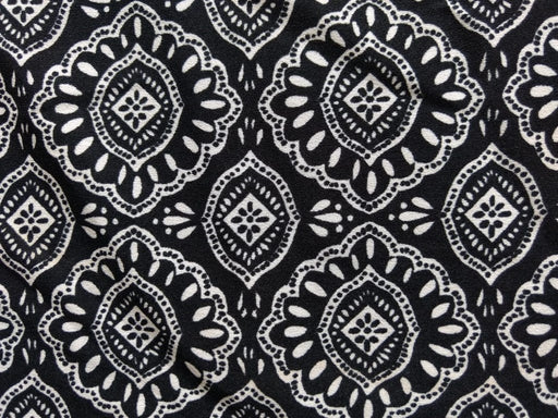Black White Traditional Poly Crepe Fabric