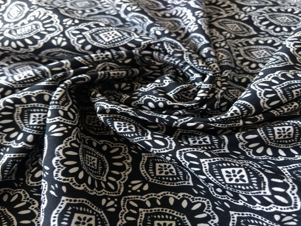 Black White Traditional Poly Crepe Fabric | The Design Cart