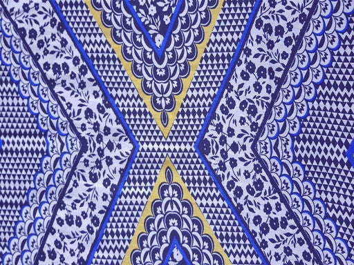 Blue Multi Floral And Geometrical Print Poly Crepe Fabric