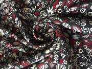 Black Multi Floral Print Poly Crepe Fabric | The Design Cart