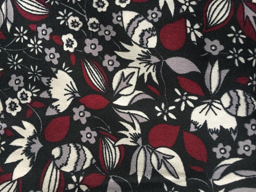 Black Multi Floral Print Poly Crepe Fabric