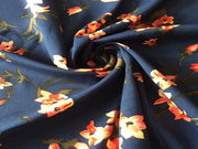 Blue Multi Floral Print Poly Crepe Fabric | The Design Cart