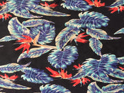 Dark Navy Multi Floral Leaf Print Poly Crepe Fabric | The Design Cart