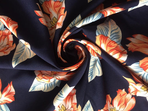 Navy Floral Print Poly Crepe Fabric