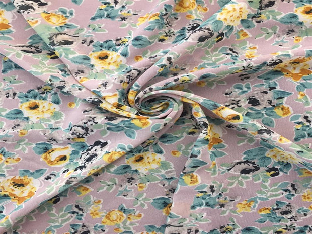 Gray Multi Floral Print Georgette Fabric | The Design Cart
