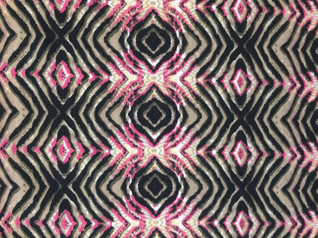 Black Multi Abstract Poly Crepe Fabric | The Design Cart
