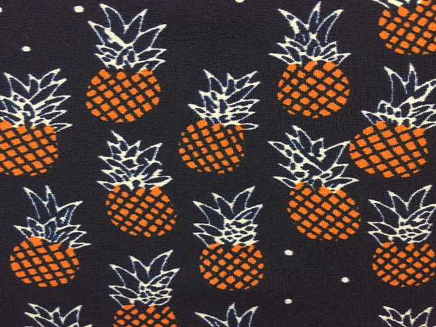 Navy Multi Pineapple Print Poly Crepe Fabric | The Design Cart