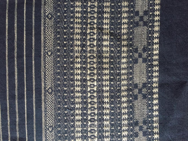 Both Side Border Dark Blue With Gray Stripes Cotton Jacquard Fabric | The Design Cart