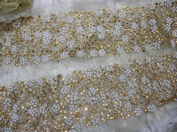 White Golden Fancy Pearl and Stone Work Lace Trim | The Design Cart