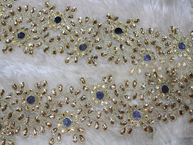 Golden Stone and Mirror Work Lace Border | The Design Cart (3794863554594)