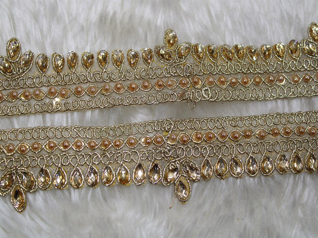 Light Golden Fancy Pearl and Stone Trim Embroidered Border | The Design Cart