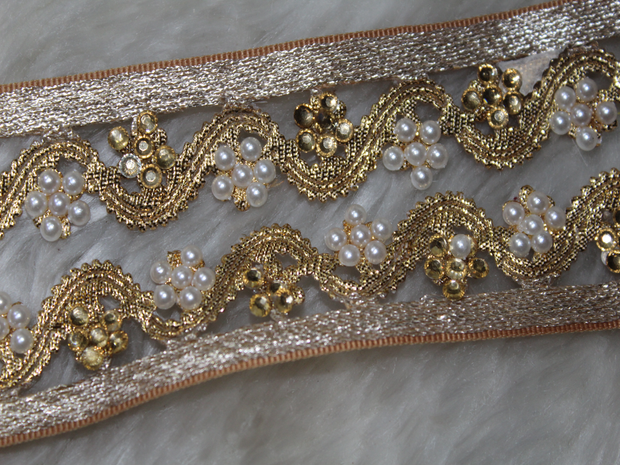 Golden White Floral Pearl Work Embroidered Borders | The Design Cart