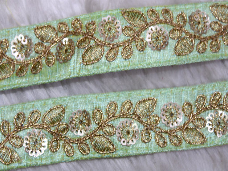 Green Fancy Sequins Embroidered Border | The Design Cart (3794865225762)