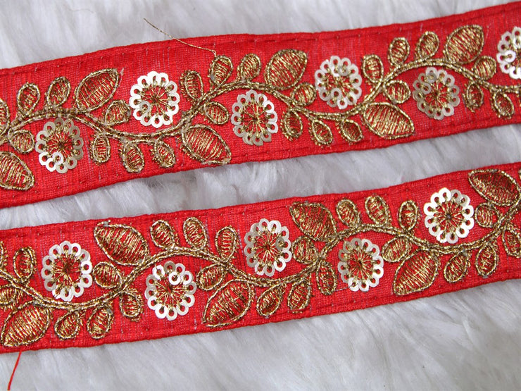 Tomato Red Fancy Sequins Embroidered Border | The Design Cart (3794865455138)