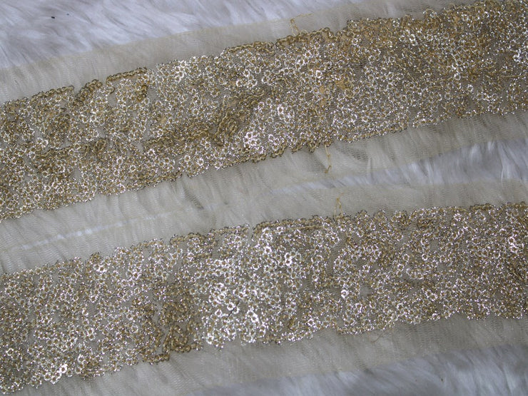 Golden Silver Fancy Sequins Trim Lace | The Design Cart (3794867519522)