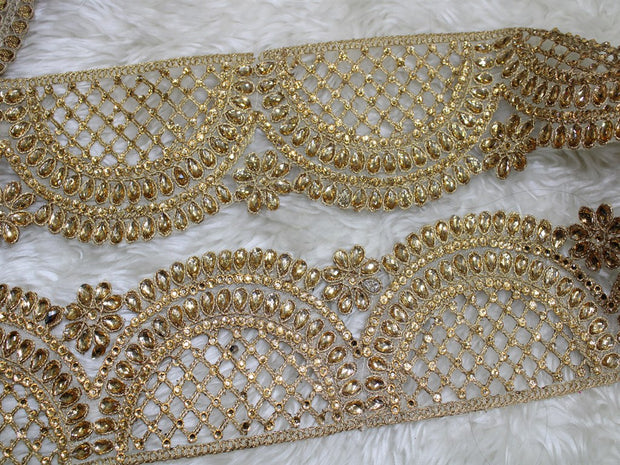 Golden Embellished Stone and Pearl Work Embroidered Border | The Design Cart