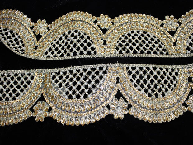 Light Golden Embellished Stone and Pearl Work Embroidered Border | The Design Cart