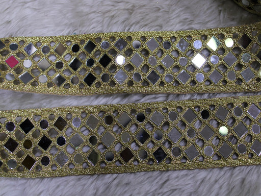 Bright Golden Fancy Mirror Trim Embroidered Borders