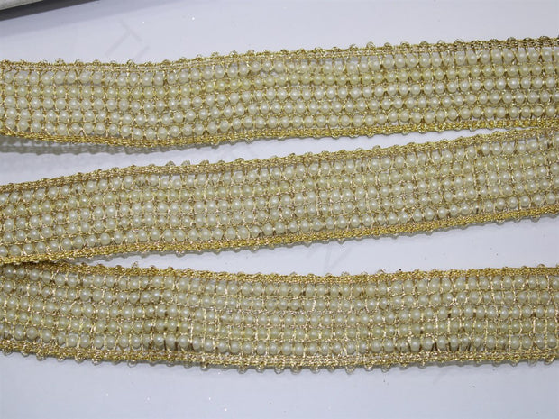 Golden Fancy Pearl Work Embroidered Border | The Design Cart (4333385941061)