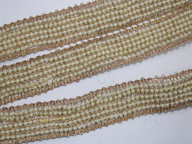 Bronze Fancy Pearl Work Embroidered Border | The Design Cart (4333385973829)