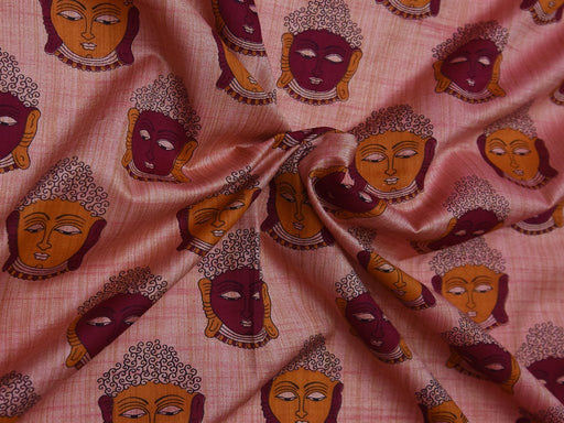 Light Pink Maroon Faces Cotton Silk Blend Printed Fabric