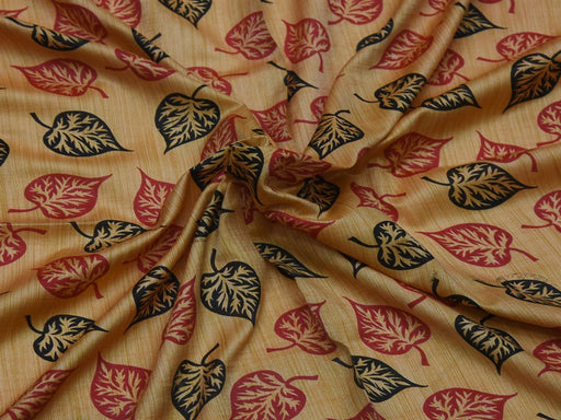 Beige Leaves Cotton Silk Blend Printed Fabric