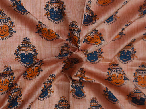 Light Pink Faces Cotton Silk Blend Printed Fabric