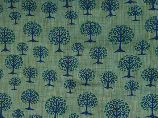 Bright Blue Trees Cotton Silk Blend Printed Fabric