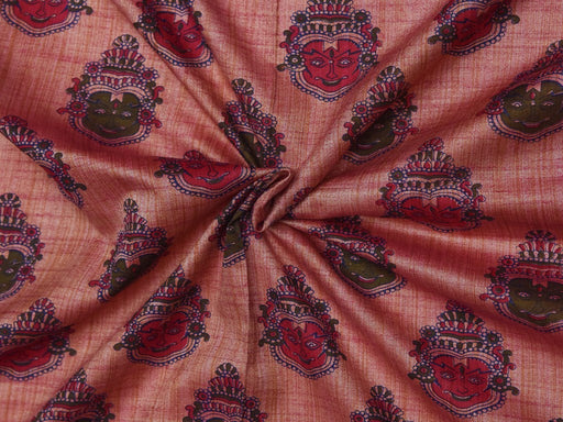 Rosewood Pink Faces Cotton Silk Blend Printed Fabric