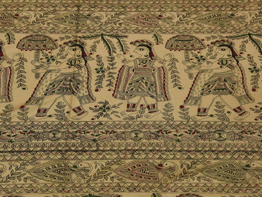 Beige Folklore Cotton Silk Blend Printed Fabric
