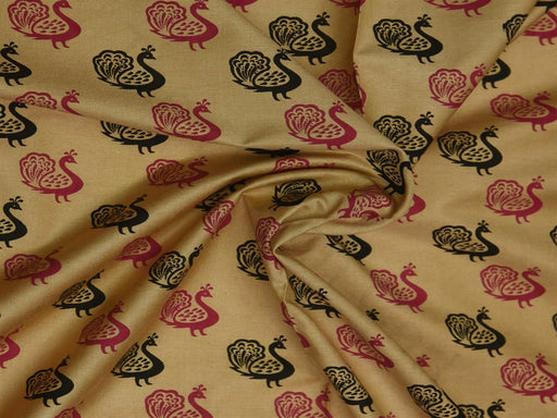 Beige Pink Peacock Cotton Silk Blend Printed Fabric