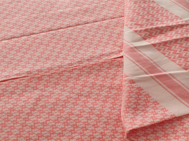 Peach Light Yellow Stripes Chevron Dobby Yarn Dyed Cotton Fabric | The Design Cart