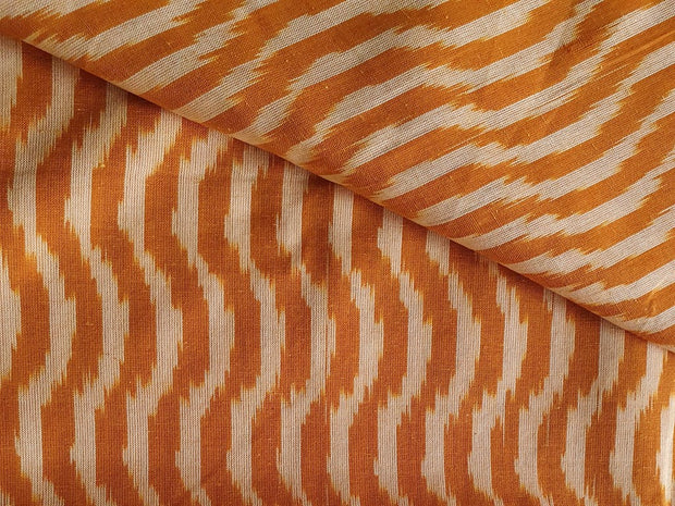 Yellow White Waves Yarn Dyed Cotton Ikat Fabric | The Design Cart (4343220568133)