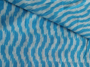 Sky Blue White Waves Yarn Dyed Cotton Ikat Fabric | The Design Cart (4343220797509)