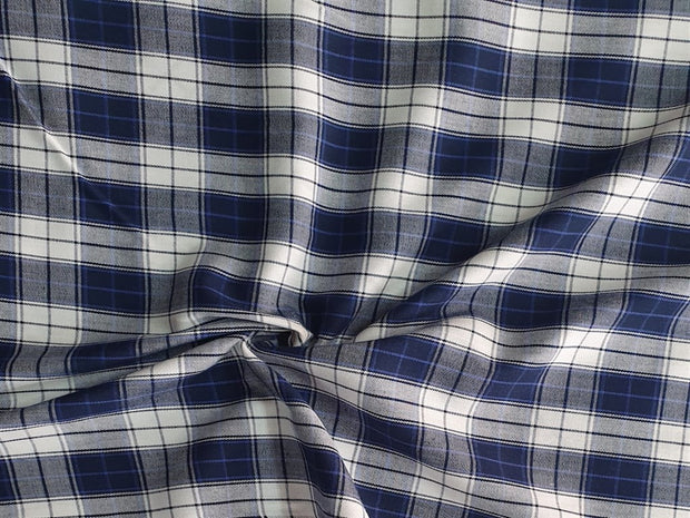 Navy Blue White Checks Yarn Dyed Cotton Twill Fabric | The Design Cart