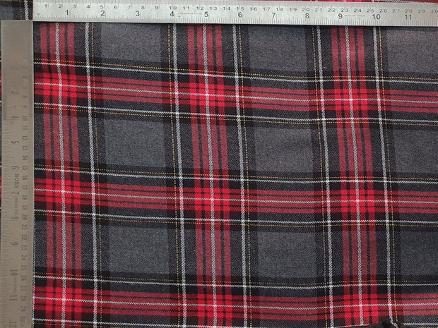 Gray Red Brushed Checks Yarn Dyed Cotton Fabric | The Design Cart