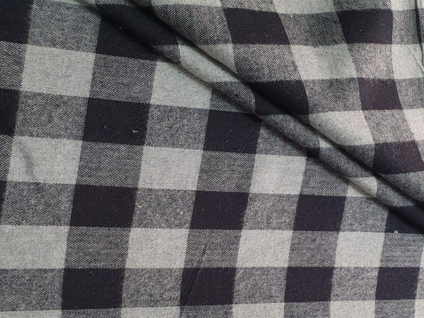 Gray Black Yarn Dyed Flannel Cotton Herringbone Twill Fabric | The Design Cart